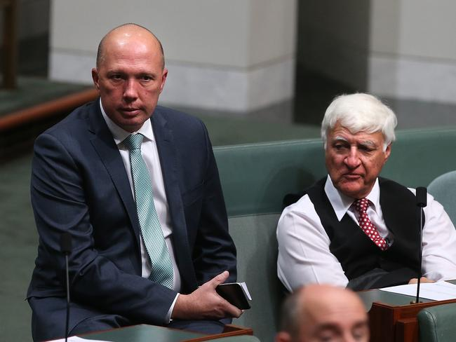Immigration Minister Peter Dutton and Bob Katter at Parliament House. Picture: Kym Smith