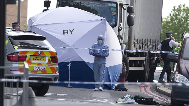 A tent is erected near the scene of an attack in Woolwich southeast London.
