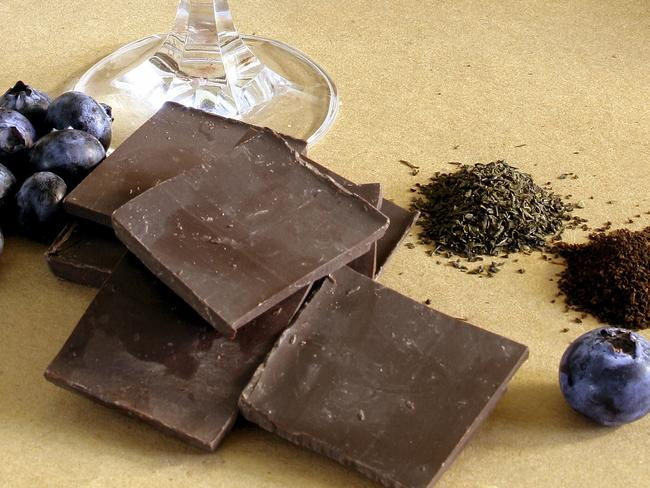 Dark chocolate and blueberries are two foods that contain ingredients to fight fatigue. Picture: iStock.