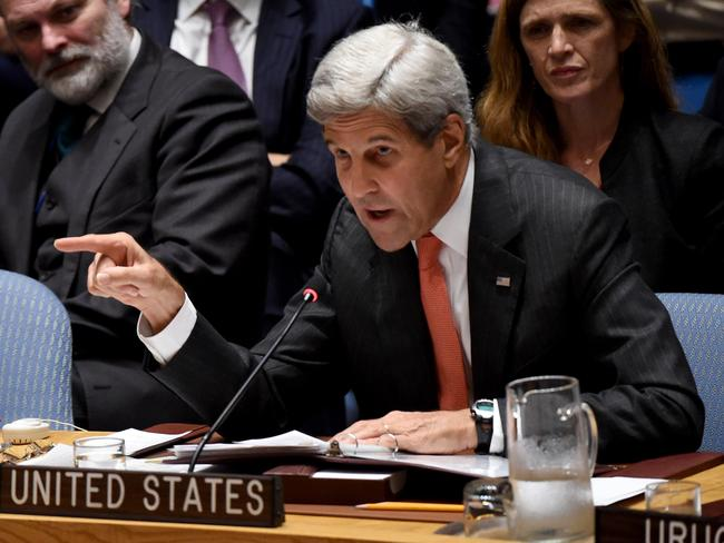Pointing the finger. US Secretary of State John Kerry blamed Russia for an air strike on an aid convoy in Syria.