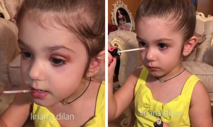 Three-year-old's online beauty tutorial has people divided