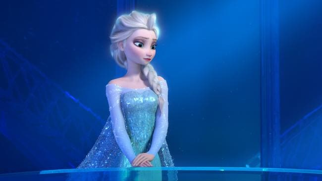 "Elsa the Snow Queen, voiced by Idina Menzel, in a scene from the animated feature ""Frozen."""