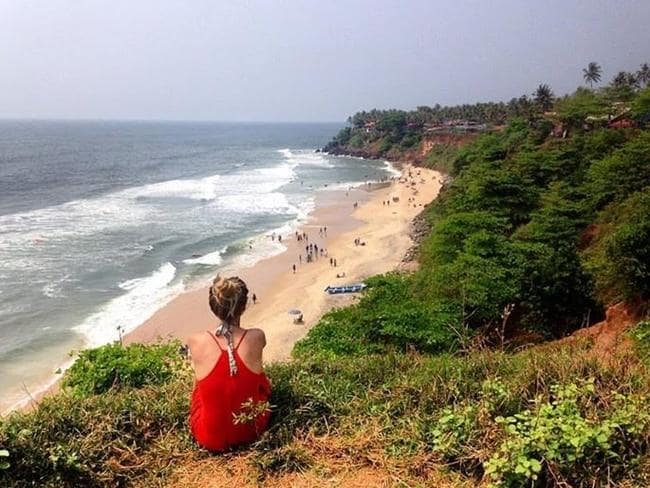Ms Kaelin, pictured in Varkala, was caught out by India's cash crisis.