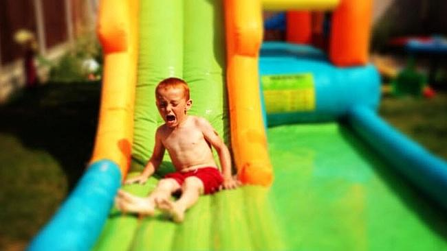 This poor little guy hated every second of this tiny slide. Picture: Twitter