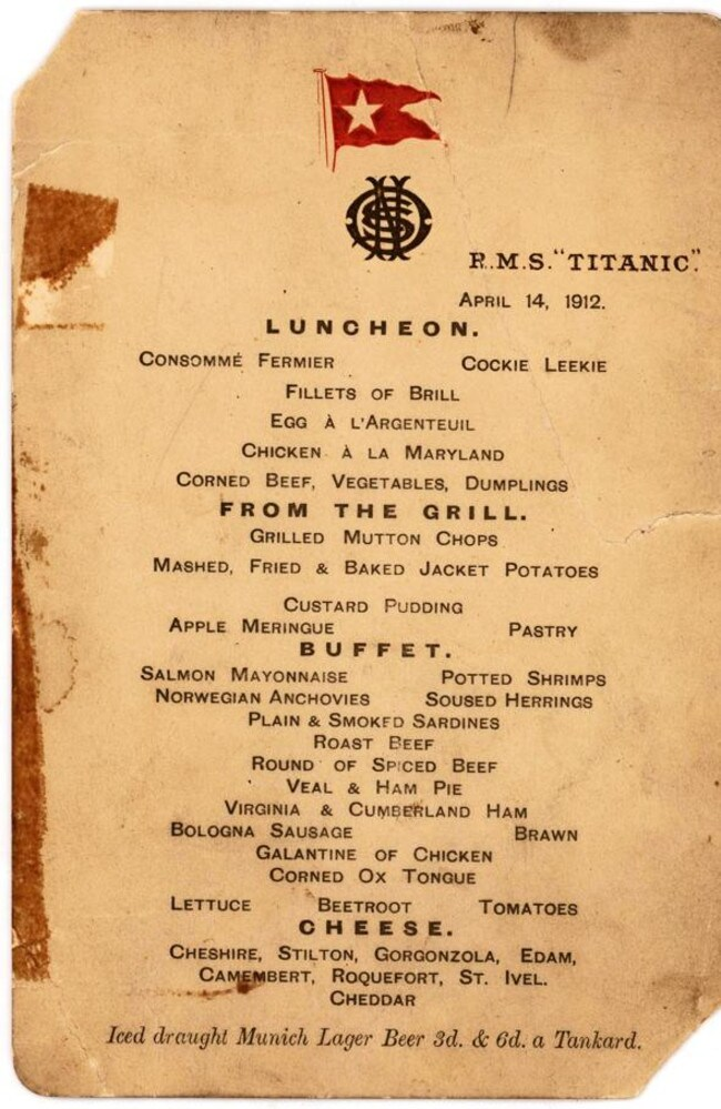The April 14, 1912 menu from the Titanic.