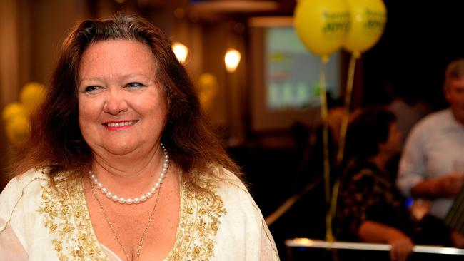 Big shoes to fill ... Gina Rinehart, pictured here at Barnaby Joyce's election after-party, inspired Nine's telemovie.