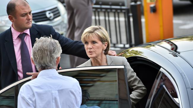 Trying to reach site ... Foreign Minister Julie Bishop leaves after delivering a press conference in the Ukraine Crisis Media Centre in Kiev.