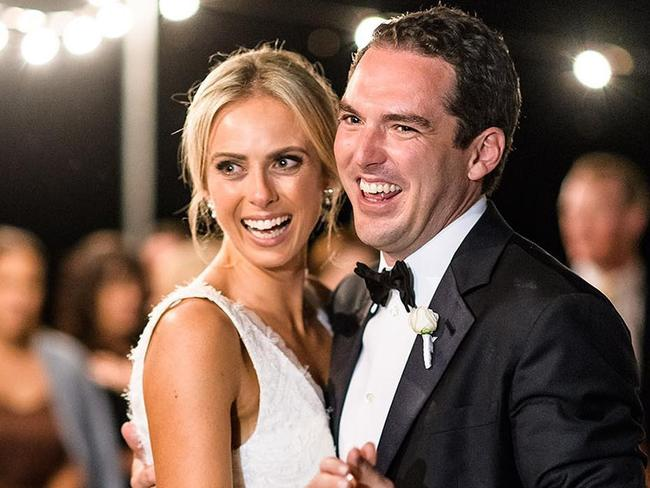 Peter Stefanovic and Sylvia Jeffreys dance during their intimate wedding.