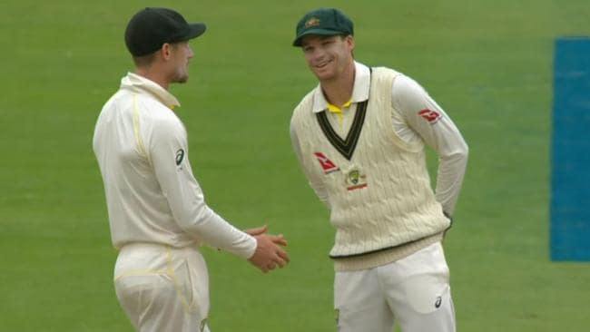 Handscomb then rushes out to tell Bancroft he has been caught cheating, who then takes the tape out of his pocket and puts it down the front of his pants.