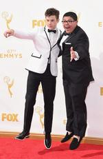 Nolan Gould and Rico Rodriguez attend the 67th Annual Primetime Emmy Awards in Los Angeles. Picture: Getty