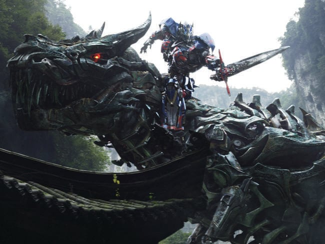 Grimlock and Optimus Prime in a scene from <i> Age of Extinction</i>.