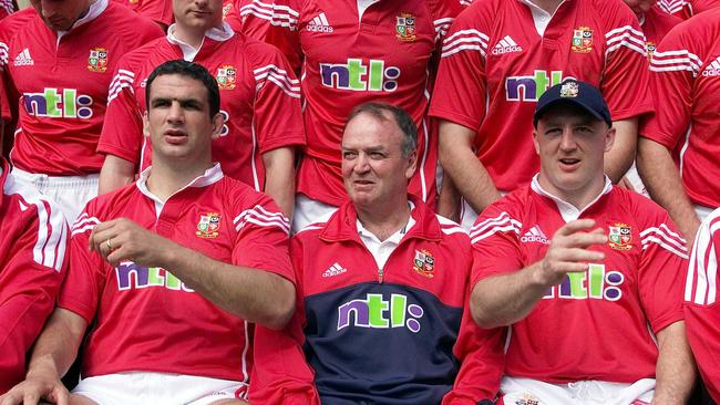 Lions captain Martin Johnson with coach Graham Henry and teammate Keith Wood in 2001.