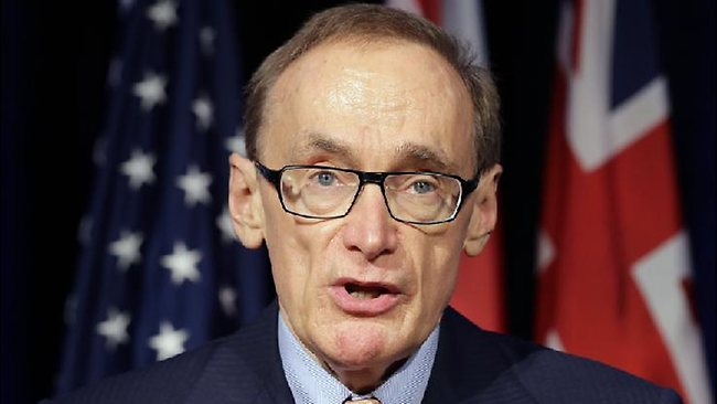 Foreign Minister Bob Carr reacts in Washington. Picture: AP