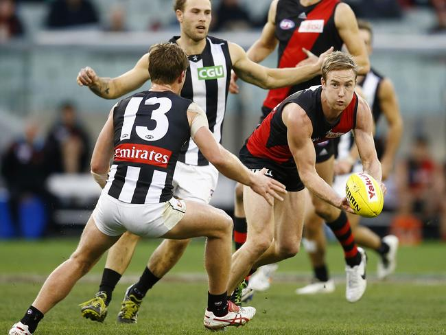 Essendon's Jason Winderleich was subbed out of the game. Picture: Michael Klein