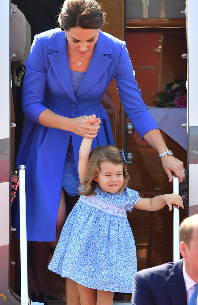Princess Charlotte was Kate's mini me in Berlin. Picture: Getty Images