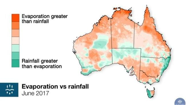 The Bureau of Meteorology has said high levels of evaporation, rather than rainfall, has been a feature of winter. Picture: Bureau of Meteorology