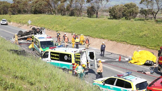 The scene of the fatal crash on Victor Harbor Rd, near McLaren Vale, on September 16. Picture: Stephen Laffer