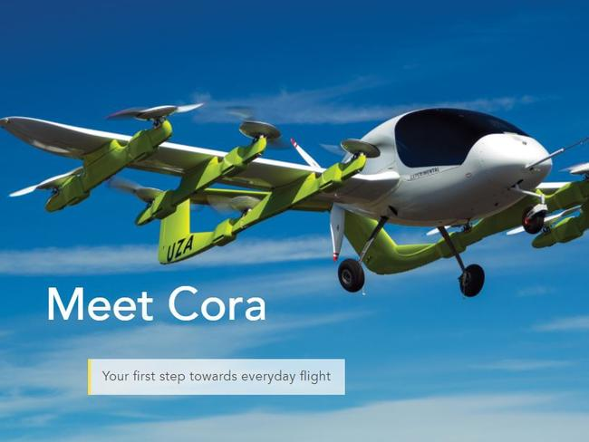 Cora has been unveiled as the world's first autopiloted taxi. Picture: Kitty Hawk website