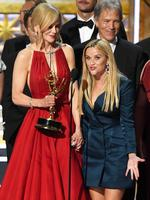Nicole Kidman and Reese Witherspoon with cast and crew of 'Big Little Lies' accept the Outstanding Limited Series award onstage during the 69th Annual Primetime Emmy Awards at Microsoft Theater on September 17, 2017 in Los Angeles, California. Picture: Getty