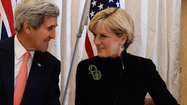 Getting along ... Australian Foreign Minister Julie Bishop and US Secretary of State John Kerry at the AUSMIN talks. Picture: AFP.