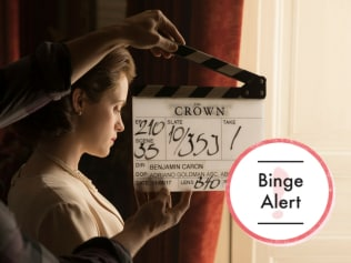 Claire Foy behind the scenes on 'The Crown'. Photo: Netflix
