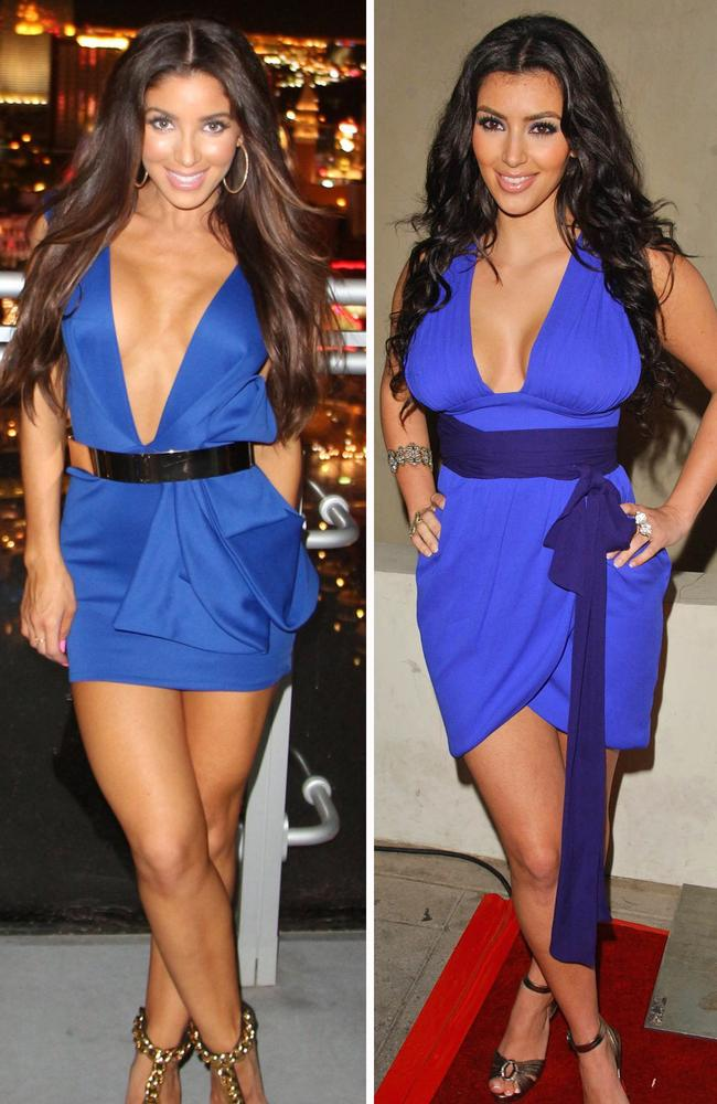 Canadian pop singer Melissa Molinaro, left, definitely has a twinge of pre fame Kim. Picture: Splash News Australia