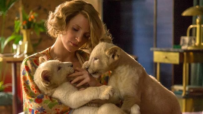 Jessica Chastain in a scene from The Zookeeper's Wife. Village Roadshow films.