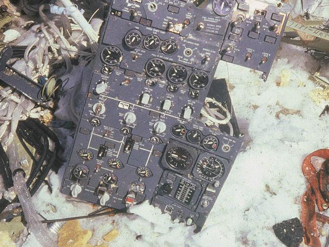 The cockpit control panel of flight 901. A change in the flight path that wasn't communicated to crew was found to have contributed to the crash. Picture: AP/New Zealand Archives