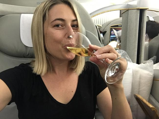 EMIRATES FIRST CLASS. If you don't take a champagne selfie, did it even happen? Picture: Celeste Mitchell