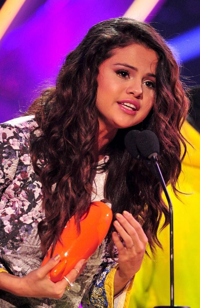 The orange blimp goes to ... Selena Gomez accepts the award for Favourite Female Singer. Picture: Frazer Harrison