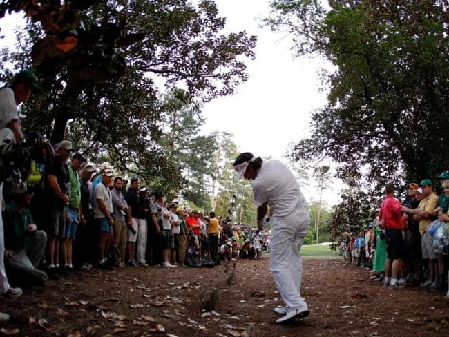 Bubba Watson plays from the straw.