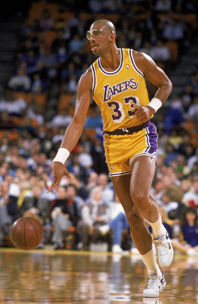 Kareem Abdul-Jabbar during his epic career with the Los Angeles Lakers.