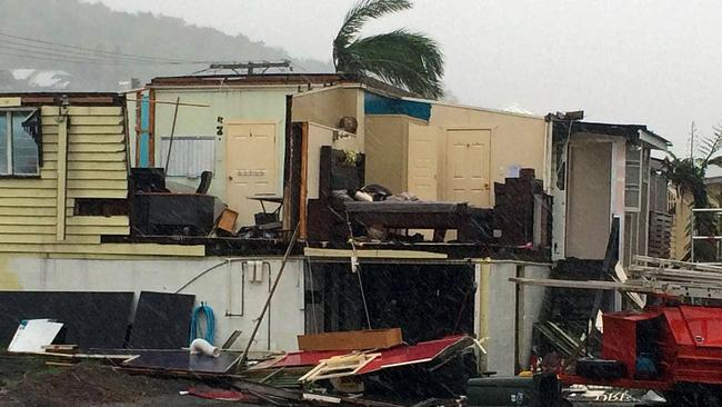 A general view shows a damaged house after Tropical Cyclone Marcia hit the coastal town of Yeppoon in north Queensland. AFP PHOTO / SHELLY ALLSOP