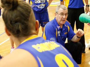 s17dt843 WNBL Basketball: Bulleen v West Coast. Bulleen coach Tom Maher speaks with his players.