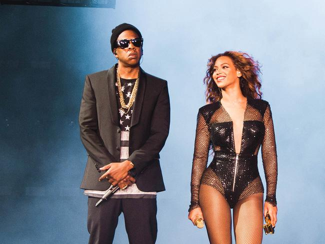 On the rocks? ... Jay Z and Beyoncé perform on the On The Run Tour.