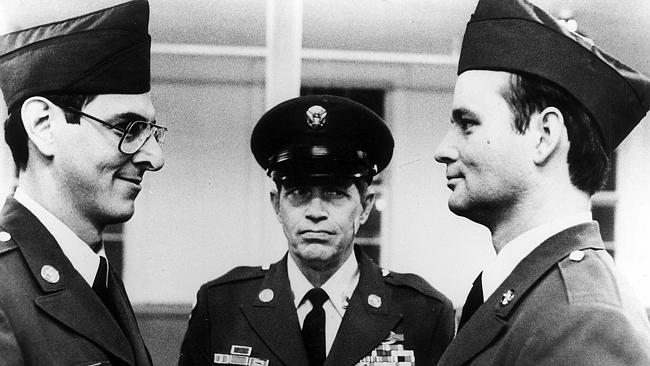 Harold Ramis (left) with Warren Oates and Bill Murray in scene from film Stripes.