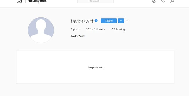 Taylor Swift's non-existent Instagram account.