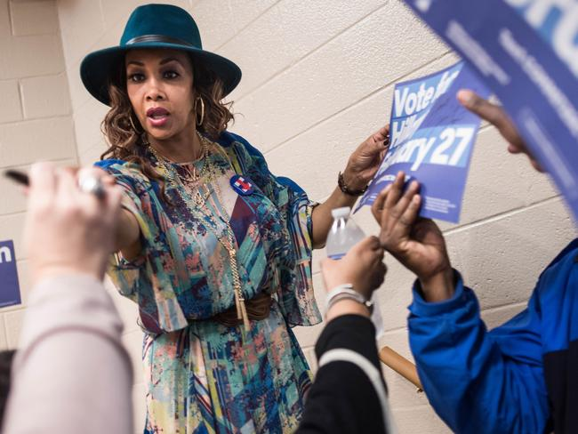 Vivica Fox while campaigning for Democratic presidential candidate Hillary Clinton in South Carolina. Picture: Getty