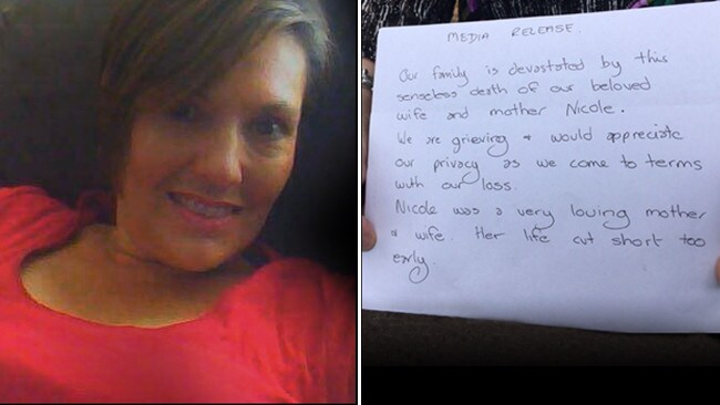Nicole Tucker, who died in the horrific crash and (right) the statement provided by her family after the incident.