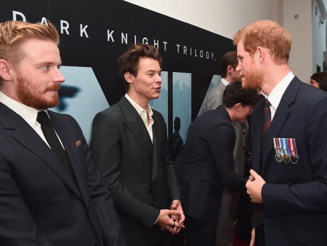 Jack Lowden and Harry Styles are greeted by Prince Harry at the 'Dunkirk' world premiere in London. Photo: Eamonn M. McCormack/Getty