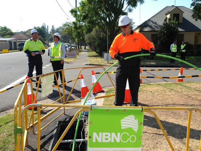 The NBN Co construction team roll out fibre in Penrith, western Sydney.