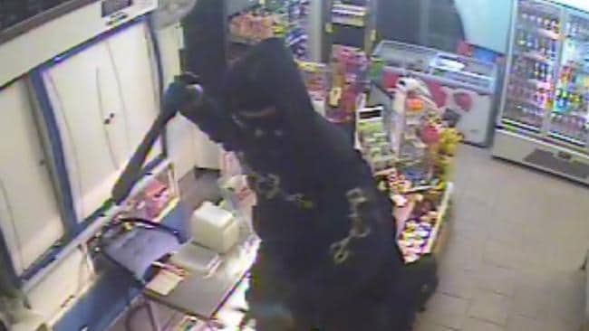 FIGHTING CRIME: CCTV footage of an armed man with what is believed to have been a machete attempting to rob Al's Convenience store in Labrador on the Gold Coast