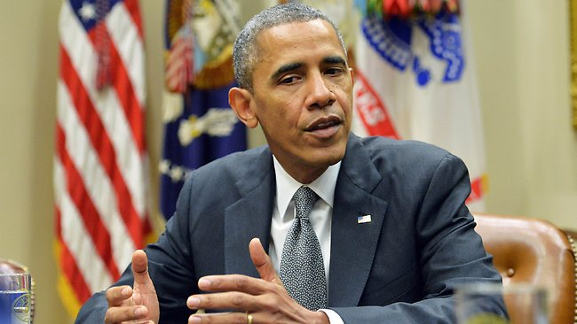 US President Barack Obama speaks during a meeting with small business owners in the Roosevelt Room of the White House in Washington, DC, on October 11, 2013, to discuss the need for Congress to act to reopen the government and pay the bills it has racked up. Obama sat down for talks with more of his Republican foes Friday amid hopes for a breakthrough in a budget showdown threatening the US recovery and the global economy. Just six days before a crunch deadline for Congress to raise US borrowing authority -- or risk the ignominy of a historic default -- Obama met Republican senators at the White House. AFP Photo/Jewel Samad
