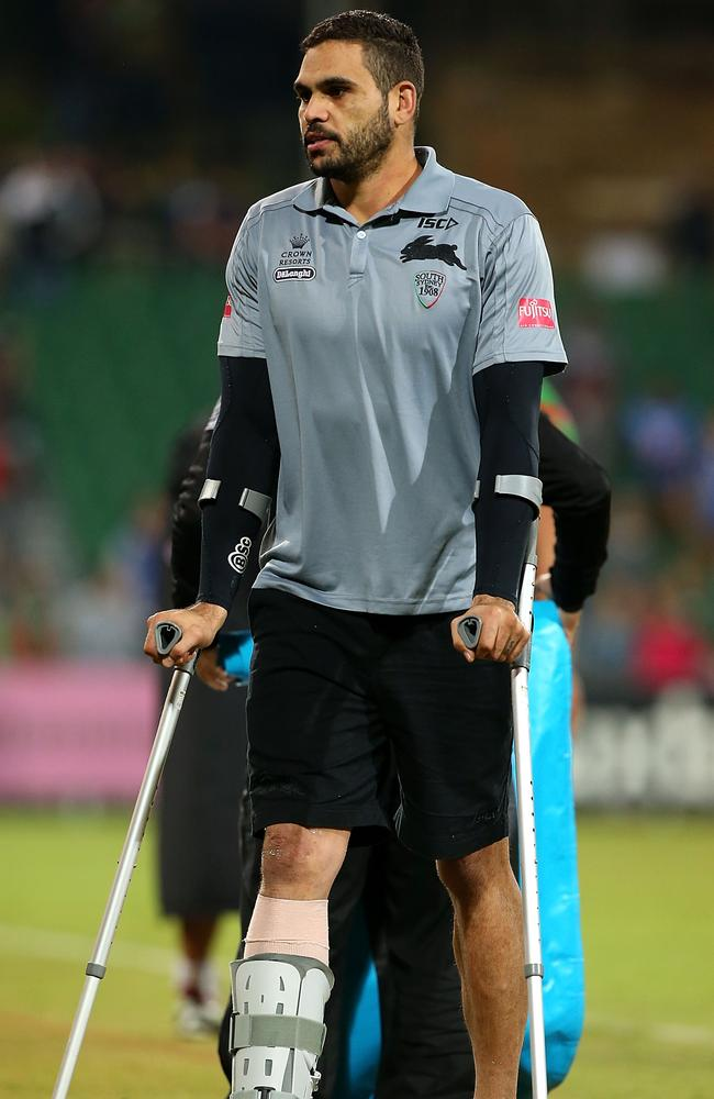 Greg Inglis left the ground on crutches after suffering an ankle injury in the Rabbitohs' game on Saturday.