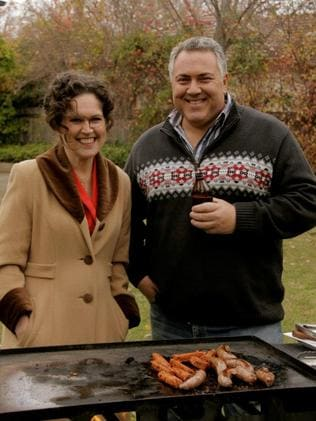 Treasurer Joe Hockey with Annabel Crabb in an episode of ABC's Kitchen Cabinet