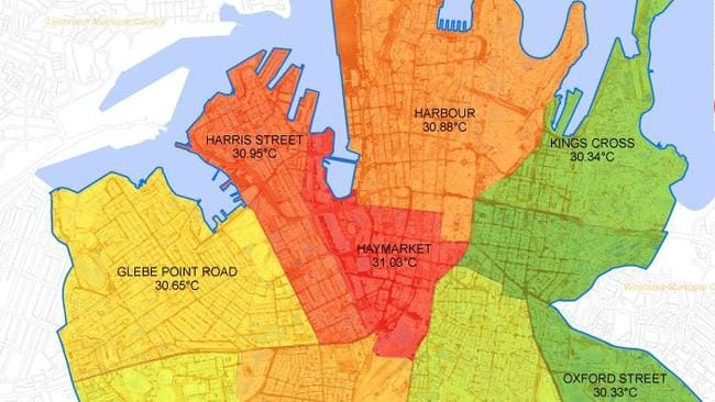 Heat maps of Sydney show the CBD around Central Station is the hottest.
