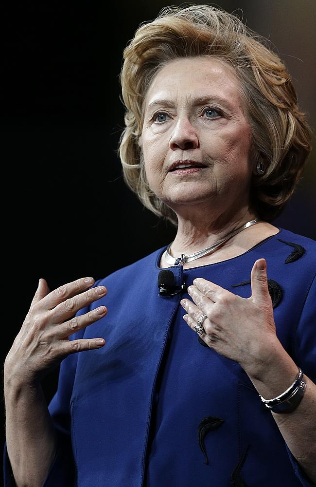 Tough words on Putin ... Hillary Rodham Clinton gestures while delivering the keynote address at Marketo's 2014 Marketing Nation Summit. Picture: Ben Margot