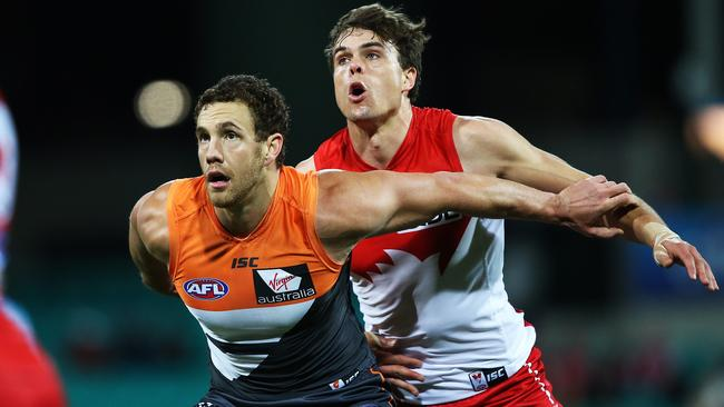 Sydney ruckman Mike Pyke battles with former teammate and now Greater Western Sydney big man Shane Mumford. Picture: Phil Hillyard