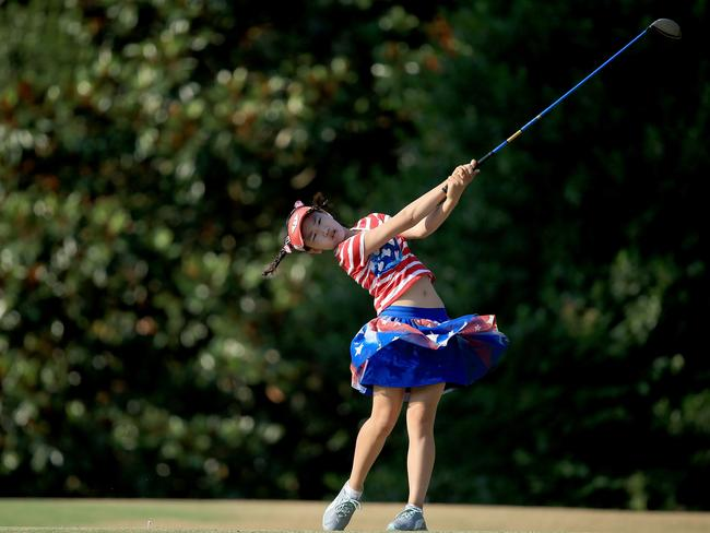Lucy Li of the USAplays her tee shot at the par 4, 16th hole during the first round of the 69th U.S. Women's Open.
