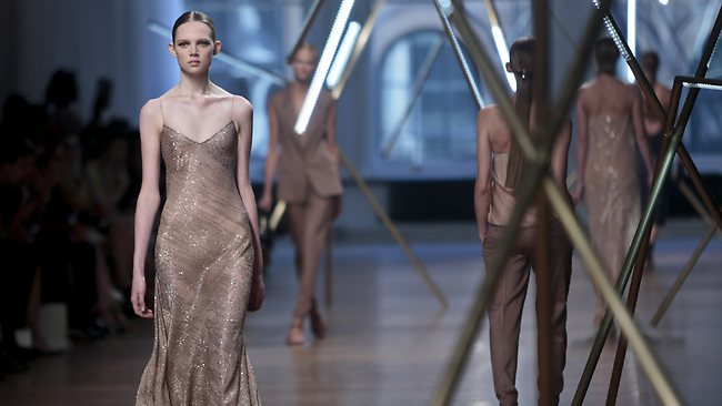 A model shows off a shimmery gown from Jason Wu's Spring Summer 2014 collection at New York Fashion Week. Picture: AP